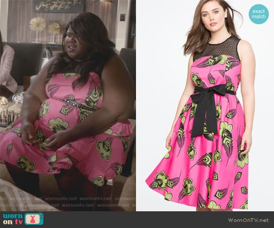 Pleated Poplin Dress with Eyelet Yoke by Eloquii worn by Gabourey Sidibe on Empire