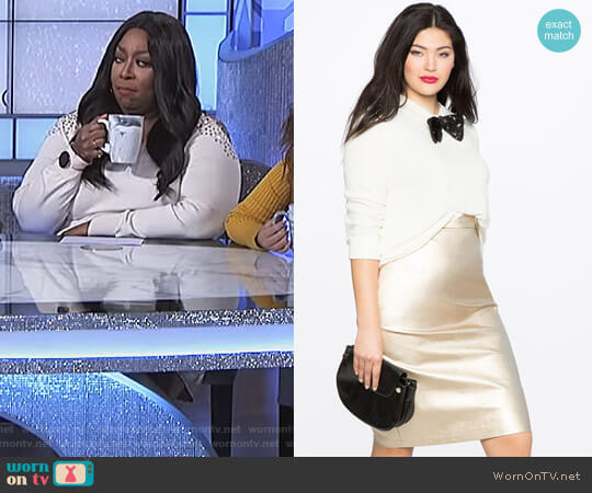 Studio Metallic Pencil Skirt by Eloquii worn by Loni Love on The Real