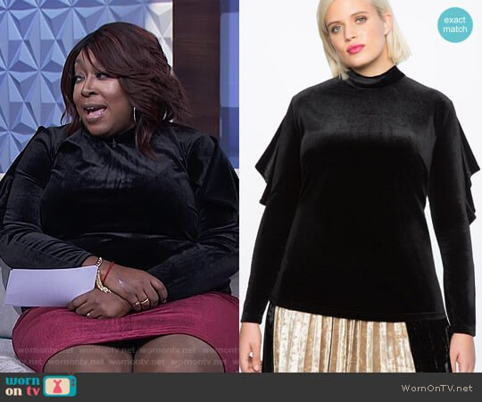 Velvet Ruffle Sleeve Mock Neck Top by Eloquii worn by Loni Love on The Real