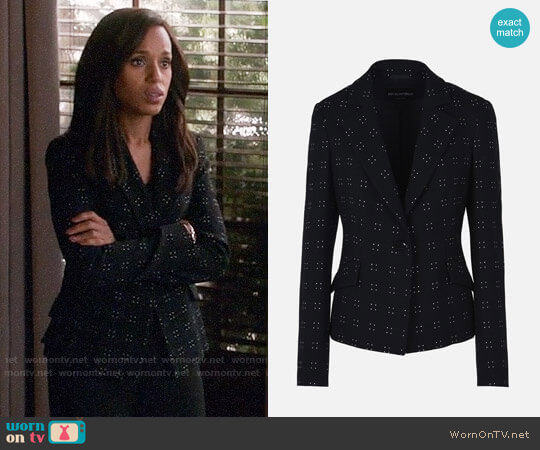Emporio Armani Stretch Silk And Wool Jacket With Pin Dot Embroidery worn by Kerry Washington on Scandal