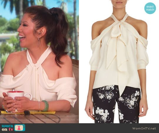 Elin Cold-Shoulder Tie-Neck Top by Erdem worn by Julie Chen on The Talk