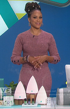 Eve's metallic pink sweater and ribbed midi skirt on The Talk