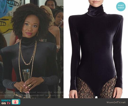 Velvet Long Sleeve Bodysuit by Faith Connexion worn by Monica Colby (Wakeema Hollis) on Dynasty