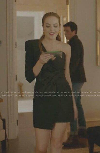 Fallon's black one shoulder bow waist dress on Dynasty