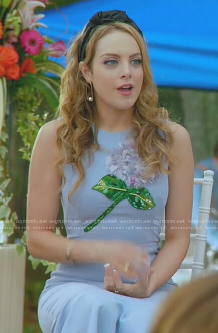 Fallon's blue embellished hydrangea dress on Dynasty