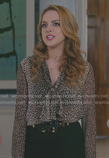 Fallon's leopard tie neck blouse on Dynasty