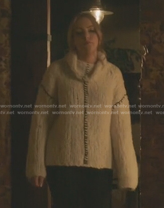 Fallon's white cowlneck chunky knit sweater on Dynasty