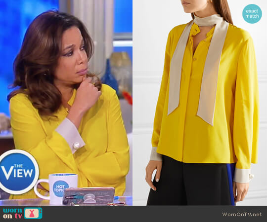 Faux pearl-embellished silk crepe de chine blouse by Fendi worn by Sunny Hostin on The View