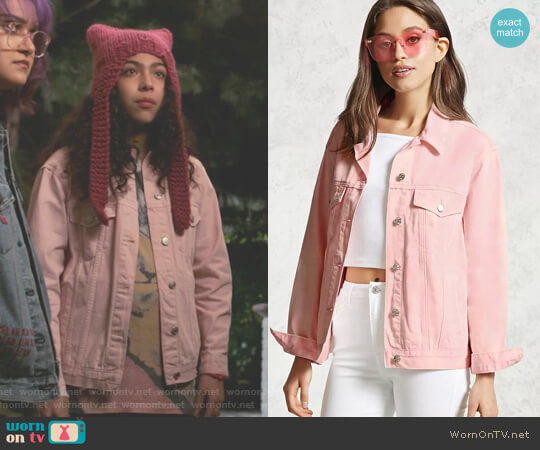 Acid Wash Boxy Denim Jacket by Forever 21 worn by Molly Hernandez (Allegra Acosta) on Marvels Runaways