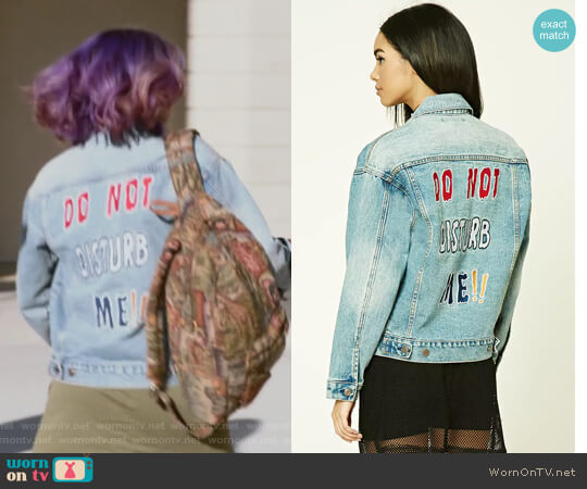Do Not Disturb Me Denim Jacket by Forever 21 worn by Ariela Barer on Marvels Runaways