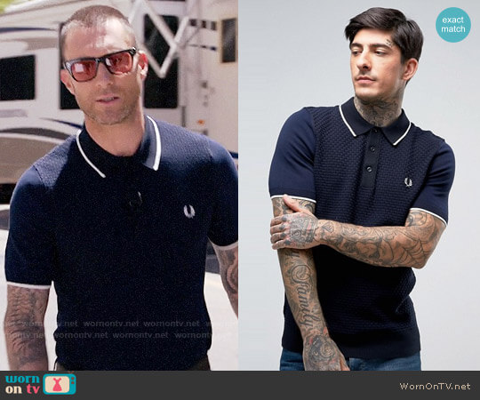 Fred Perry Slim Knitted Polo Checkerboard Textured in Navy worn by Adam Levine on The Voice