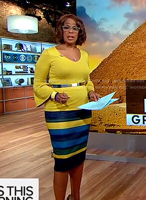 Gayle's yellow bell sleeve top and striped pencil dress on CBS This Morning