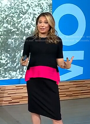 Ginger's black and pink colorblock top on Good Morning America
