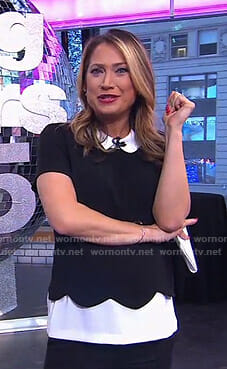 Ginger's black scalloped top with collar on Good Morning America