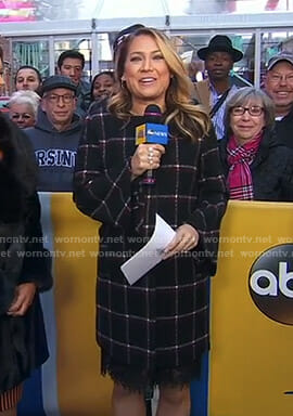 Ginger's black windowpane coat on Good Morning America