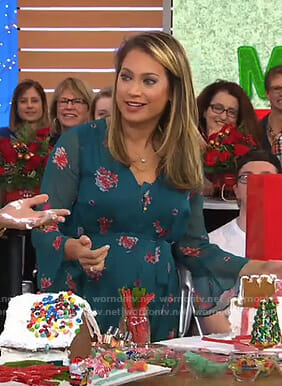 Ginger's green floral bell sleeve maternity dress on Good Morning America