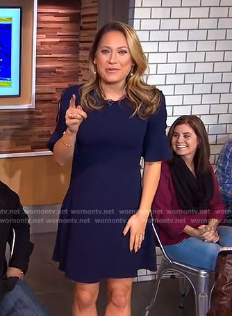 Ginger's navy cutout sleeve dress on Good Morning America