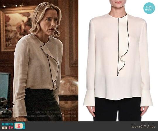 Giorgio Armani Ruffled Button-Back Tuxedo Blouse worn by Elizabeth McCord (Téa Leoni) on Madam Secretary