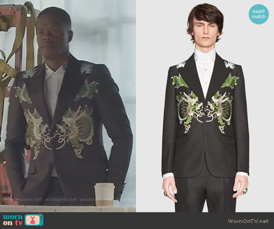 Heritage Wool Mohair Jacket with Dragons by Gucci worn by Sam Adegoke on Dynasty
