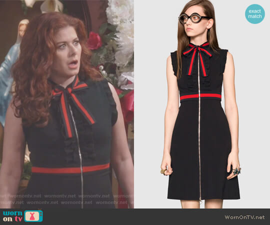 Jersey dress with Web trim by Gucci worn by Debra Messing on Will & Grace