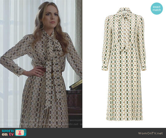 Long Sleeve Logo Dress by Gucci worn by Fallon Carrington (Elizabeth Gillies) on Dynasty