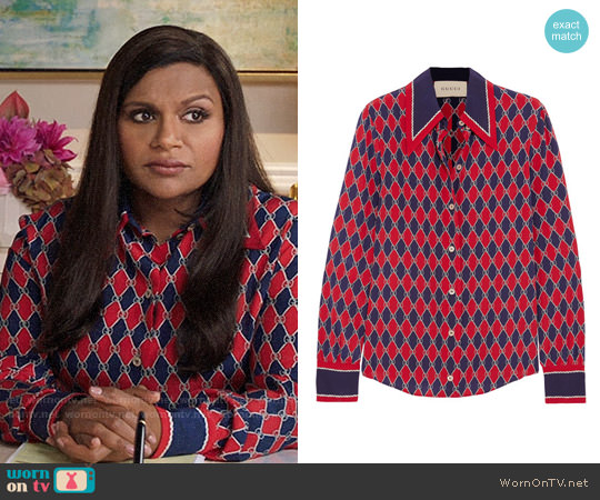 Gucci Rhombus Print Silk Shirt worn by Mindy Kaling on The Mindy Project
