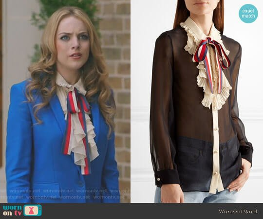 Ruffle Trimmed Silk Georgette Shirt by Gucci worn by Elizabeth Gillies on Dynasty