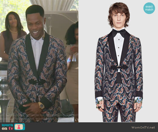 Seahorse Jacquard Evening Jacket pant by Gucci worn by Jeff Colby (Sam Adegoke) on Dynasty