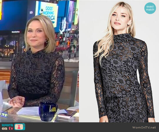 'Tia' Top by Guess worn by Amy Robach on Good Morning America