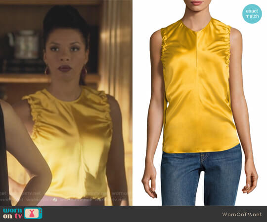 Armhole Ruched Silk Tank Top by Helmut Lang worn by Catherine Wilder (Angel Parker) on Marvels Runaways