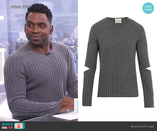 Elbow Cut-Out 1997 Sweater by Helmut Lang worn by Justin Sylvester on E! News