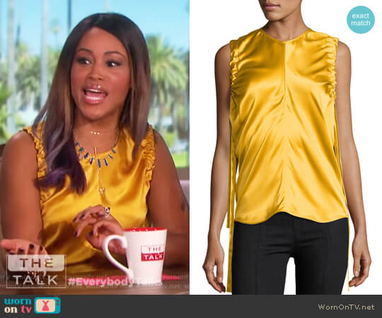 Ruched Armhole Sateen Silk Tank by Helmut Lang worn by Eve on The Talk