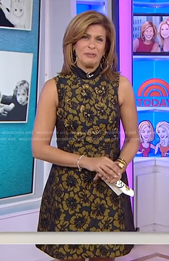 Hoda's black and gold floral embellished dress on Today