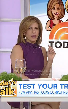 Hoda's purple beaded neck dress on Today