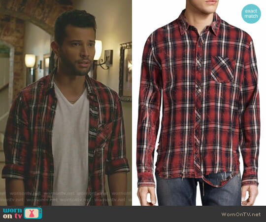 Plaid Cotton Casual Button-Down Shirt by Hudson worn by Sam Flores (Rafael de la Fuente) on Dynasty