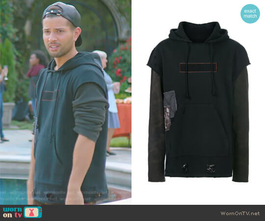 Layered Look Distressed Hoodie by Hudson worn by Rafael de la Fuente on Dynasty
