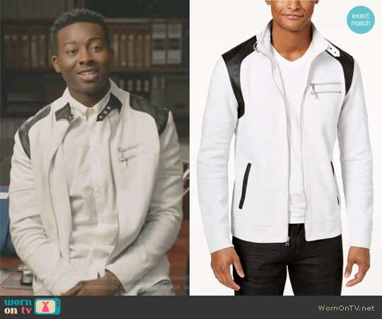 Men's Fire Knit Moto Jacket by INC International Concepts worn by Brandon Micheal Hall on The Mayor