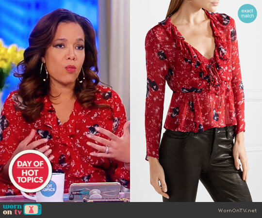 Venecia ruffled printed chiffon blouse by IRO worn by Sunny Hostin on The View