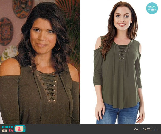 IZ Byer California Lace-Up Cold Shoulder Top worn by Andrea Navedo on Jane the Virgin
