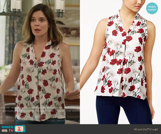Inverted-Pleat Blouse by Vince Camuto worn by Betsy Brandt on Life in Pieces