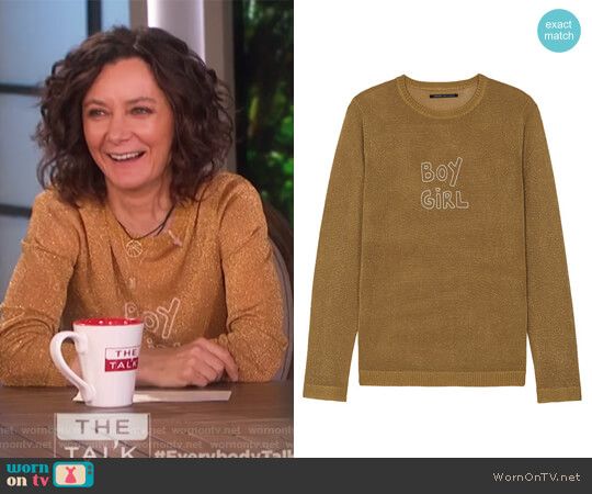 Sparkle Boy Girl Jumper in Gold Lurex by J Brand worn by Sara Gilbert (Sara Gilbert) on The Talk