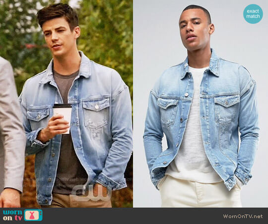 Jack & Jones Intelligence Oversized Denim Jacket With Distress Detail worn by Grant Gustin on The Flash
