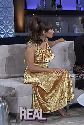 Jeannie's gold velvet dress on The Real