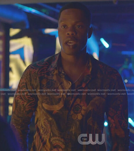 Jeff's floral monkey print shirt on Dynasty