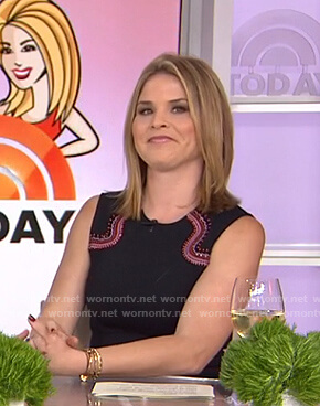 Jenna's black embroidered sleeveless dress on Today