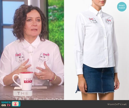 Gattini embroidered shirt by Jimi Roos worn by Sara Gilbert on The Talk