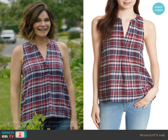 Aruna Plaid Top by Joie worn by Heather Hughes (Betsy Brandt) on Life in Pieces