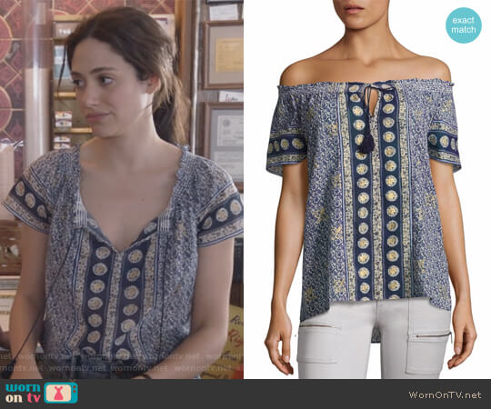 Camelyn Tassel Off-The-Shoulder Blouse by Joie worn by Emmy Rossum on Shameless
