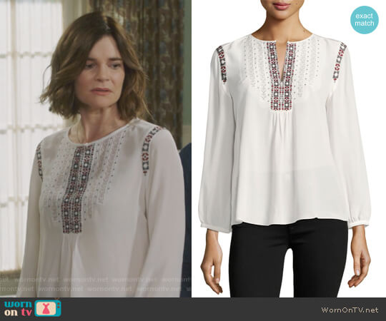 Clema Long-Sleeve Silk Top by Joie worn by Betsy Brandt on Life in Pieces