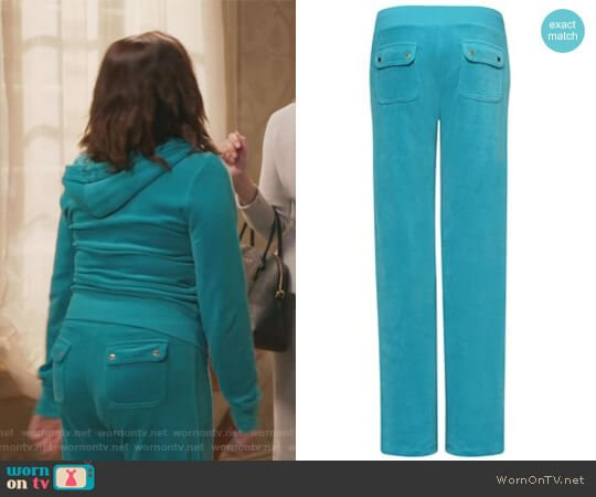 Bling Velour Malibu Pants by Juicy Couture worn by Rebecca Bunch (Rachel Bloom) on Crazy Ex-Girlfriend